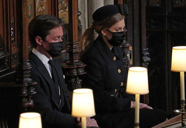 Princess Beatrice of York (right) and her husband, Edoardo Mapelli Mozzi, at St George's Chapel.