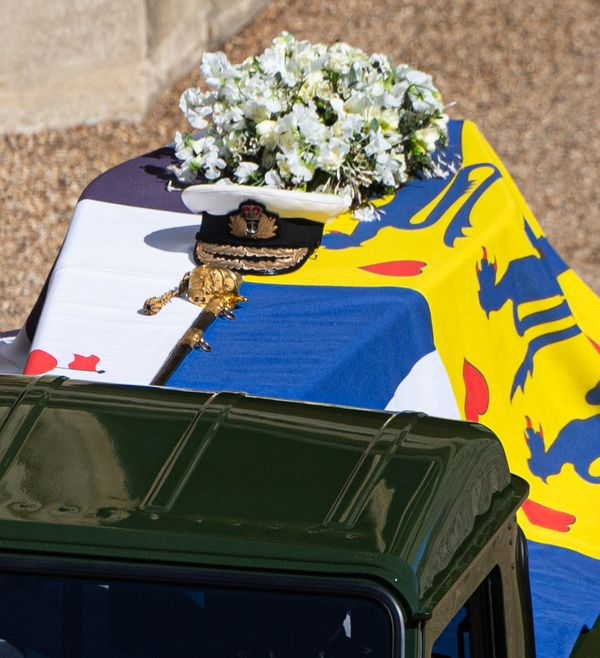 The Duke of Edinburgh's coffin, covered with His Royal Highness's Personal Standard, is seen on the Land Rover th