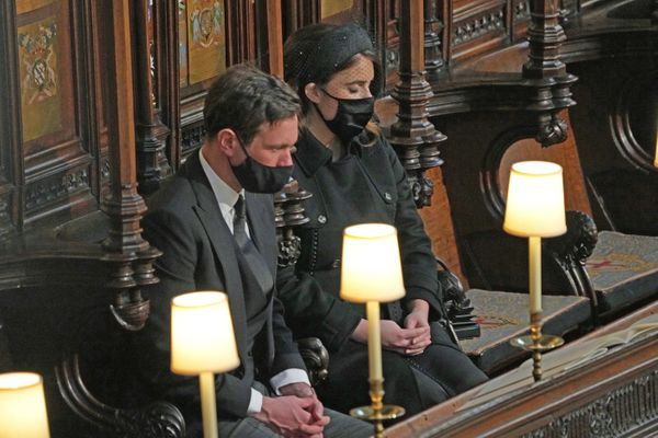 Princess Eugenie of York and Jack Brooksbank pictured in the pews.