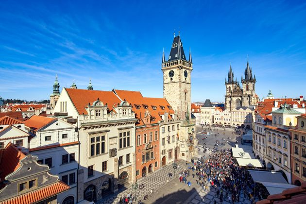 Prague, Czech Republic - March 2, 2020 Large crowd of people gathered to watch the astronomical