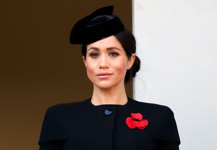 The Duchess of Sussex attends the annual Remembrance Sunday Service at The Cenotaph on Nov. 11, 2018, in London.