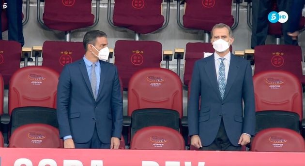 Pedro Sánchez y Felipe VI, en el palco de La Cartuja antes de la final de la Copa del
