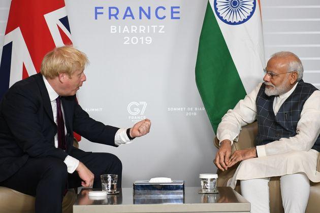 Boris Johnson meets Indian PM Narendra Modi during the G7 summit in