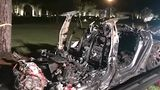 Tesla after fiery crash in Texas.