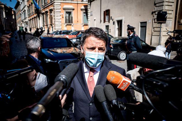 24/03/2021 Roma, Dichiarazioni di Matteo Renzi fuori dal