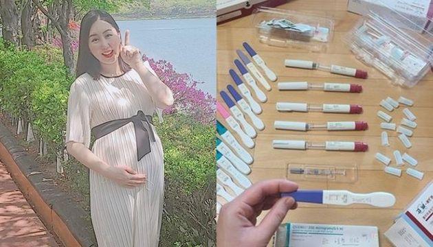 임신 12주차 황신영 모습, 지난 2월, 그간사용했던 임신테스트기들을 찍어 올리며 임신을 준비하며 겪었던 마음고생을 솔직하게 털어놨던
