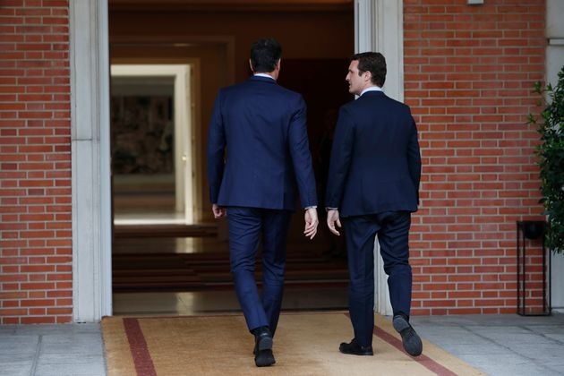 Spanish President Pedro Sanchez during a meeting with politician Pablo Casado at MoncloaPalace in Madrid...