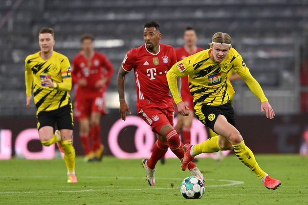MUNICH, GERMANY - MARCH 06: Erling Haaland of Borussia Dortmund runs with the ball during the Bundesliga...