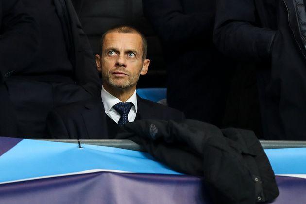 Le président de l'UEFA, Aleksander Ceferin, lors du match de Champions League entre Manchester...