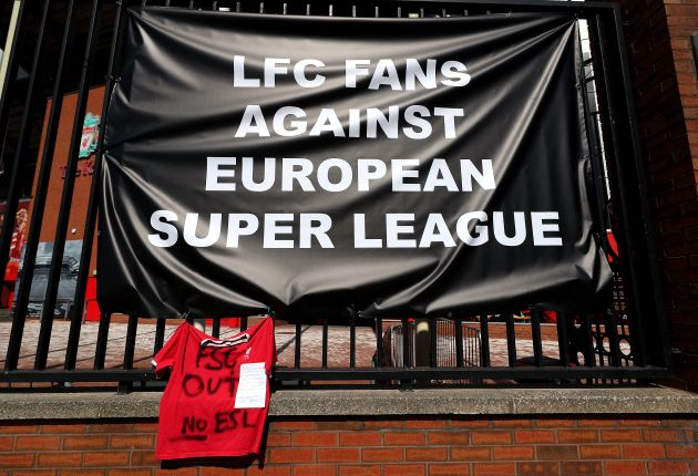 Banners are placed outside of Anfield, home of Liverpool FC to protest against its decision to be included...