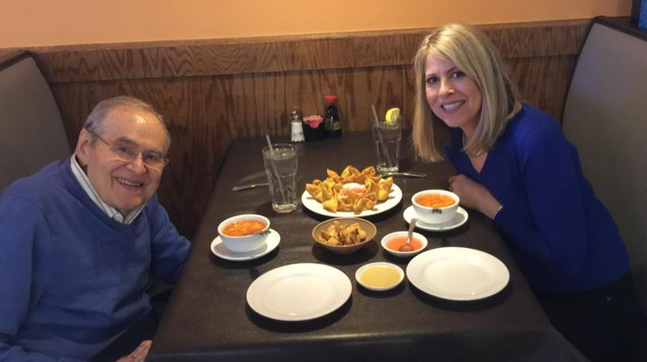 The author and her father, Joseph Kanarek, at lunch in Kansas City, Missouri, in 2018.