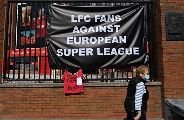 Anti-European Super League posters hang outside Anfield stadium, home of English Premier League football...