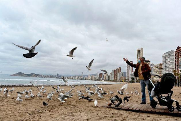 Un hombre alimenta a las palomas en la playa de