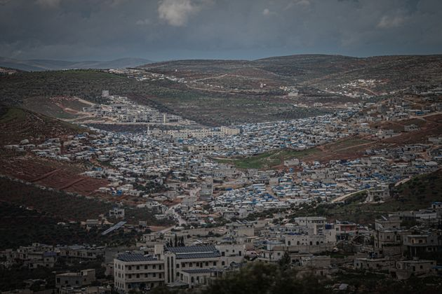 IDLIB, SYRIA - APRIL 10: General view of the city as Syrians go shopping ahead of holy Islamic month...