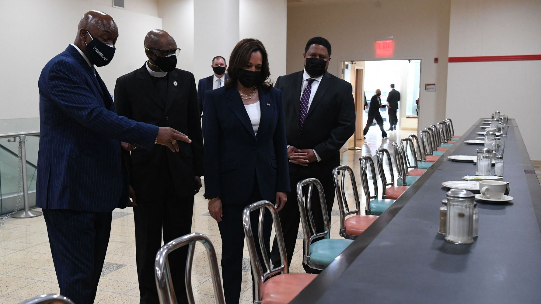 Kamala Harris Visits Historic Woolworth's Lunch Counter Where Sit-In Movement Began