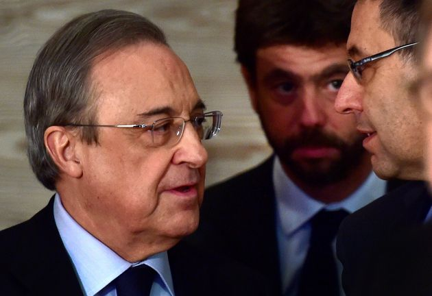 Real Madrid President Florentino Perez (L), Juventus FC President Andrea Agnelli (C) and Barcelona President...