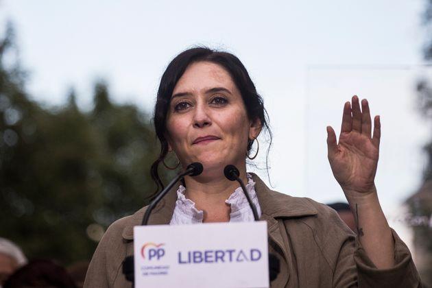 La presidenta de la Comunidad de Madrid, Isabel Díaz Ayuso, visita Fuenlabrada para un acto de...