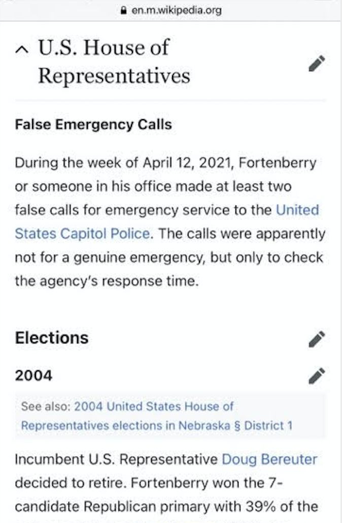 """A screenshot of Rep. Jeff Fortenberry's Wikipedia page. The section titled """"False Emergency Calls"""" was later deleted."""