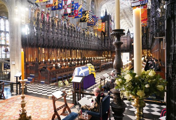 A general view as members of the royal family attend the funeral at St. George's Chapel.