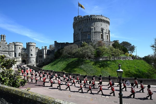 The Foot Guards Band are seen marching into position ahead of the funeral.