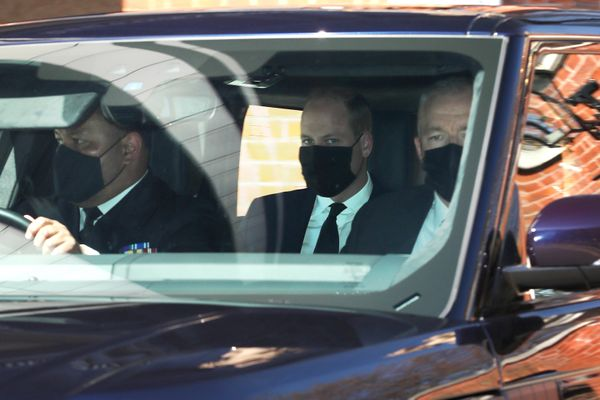 Prince William seen leaving Kensington Palace, heading to Windsor for Prince Phillip's funeral.