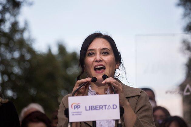 La presidenta de la Comunidad de Madrid, Isabel Díaz Ayuso, en un acto en