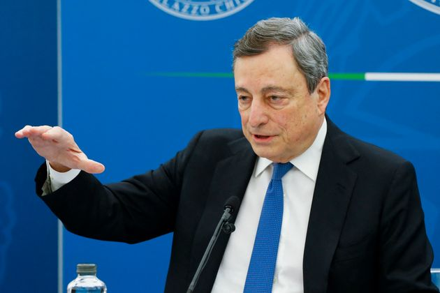 Italian Prime Minister, Mario Draghi gives a press conference on April 16, 2021 in Rome. - Italy's government...