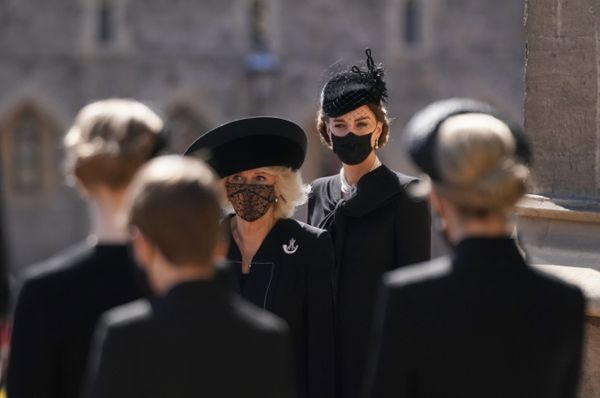 Camilla, Duchess of Cornwall and the Duchess of Cambridge arrive for the funeral.
