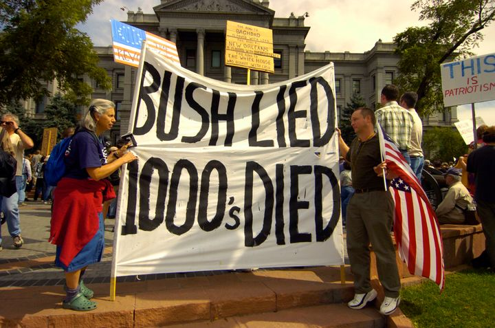 Protesters at a 2005 antiwar protest in Denver.