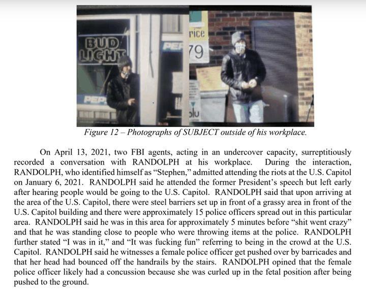 FBI affidavit against Randolph.
