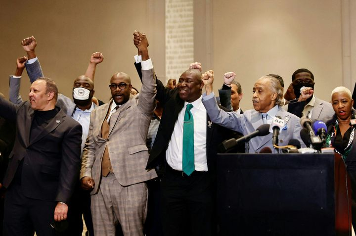 Rev. Al Sharpton and attorney Ben Crump with the family of George Floyd in Minneapolis.