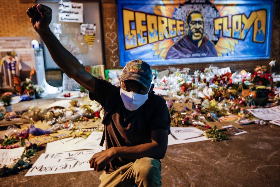Protesters gather at a memorial for George Floyd outside Cup Foods on East 38th Street and Chicago Avenue on June 1, 2020, in