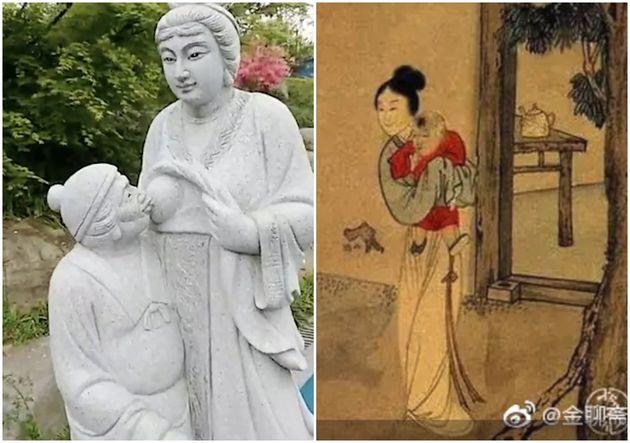 시어머니에게 모유 먹이는 며느리를 형상화한 조각상이 중국에서 결국 철거됐다고 홍콩 사우스차이나모닝포스트가