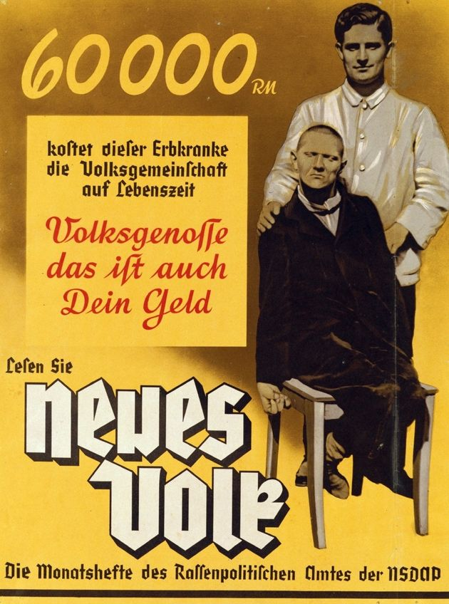 Portada de 1937 de la revista 'Neues Volk', del régimen nazi, que señala a las personas con enfermedades...