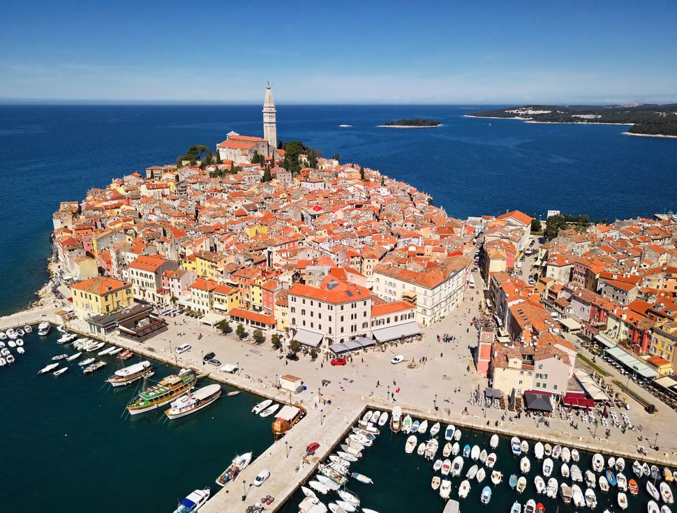 Aerial view of Rovinj, Istria, Croatia.