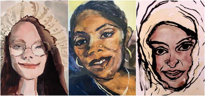 Portraits of Louise Smith, Denise Keane-Barnett-Simmons and Shadika MohsinPatel.