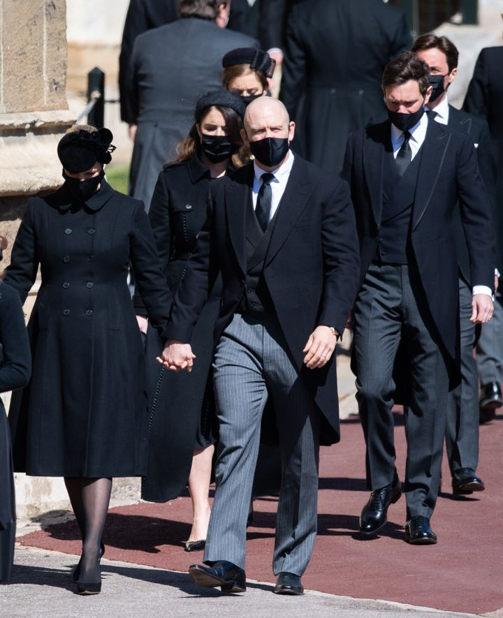 Zara Tindall, Mike Tindall, Princess Eugenie, Jack Brooksbank, Princess Beatrice and Edoardo Mapelli Mozzi during the funeral