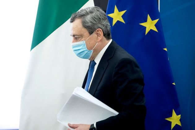 ROME, ITALY - APRIL 16: Italy's Prime Minister Mario Draghi leaves following a press conference to illustrate...