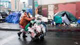 A woman pushes her belongings past a row of tents in Los Angeles on Feb. 1. At last count, more than 4,662 unhoused people were determined to be living in Skid Row.