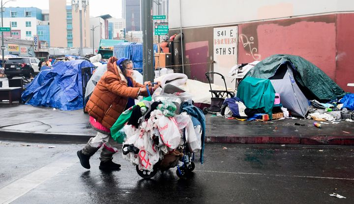 A woman pushes her belongings past a row of tents in Los Angeles on Feb. 1. At last count, more than 4,662 unhoused peop