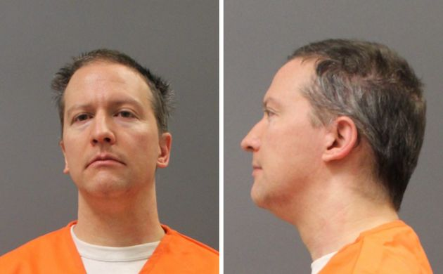 Derek Chauvin's prison system mugshot was taken Tuesday after a jury convicted him of three counts in...