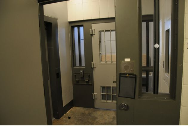 The entrance to a cell in the Administrative Control Unit, where Derek Chauvin is behind held until his...