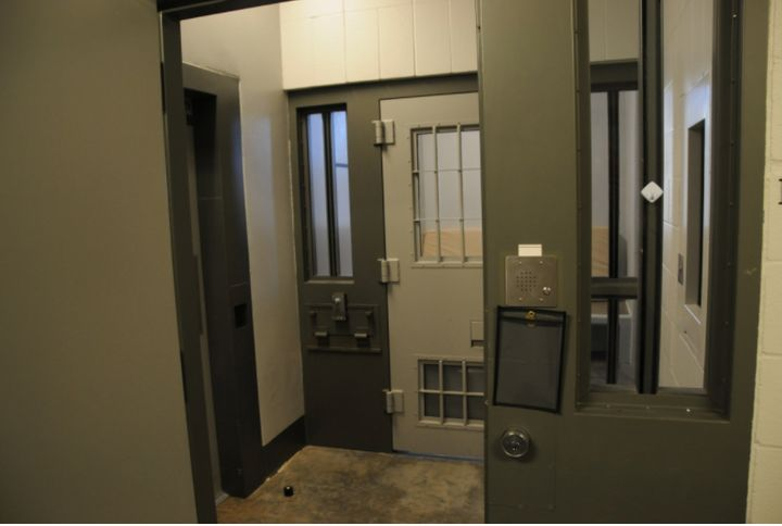 The entrance to a cell in the Administrative Control Unit, where Derek Chauvin is behind held until his sentencing, scheduled
