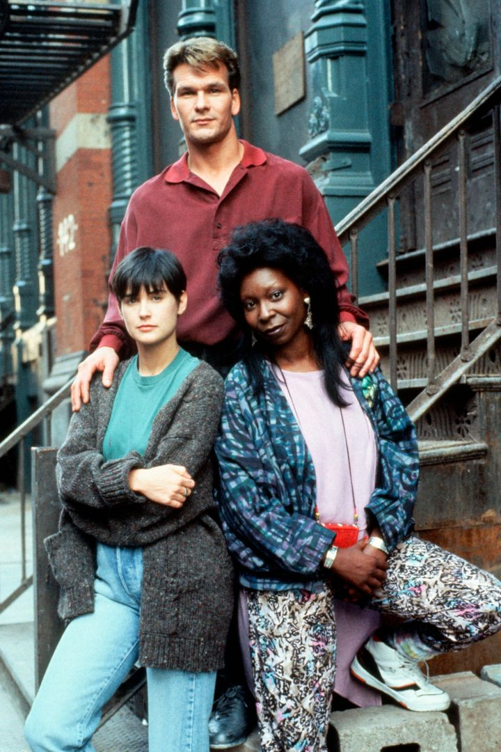 "Patrick Swayze, Demi Moore and Whoopi Goldberg on the set of ""Ghost,"" which was released in 1990."
