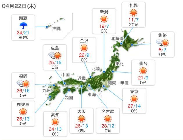 22日の全国の天気