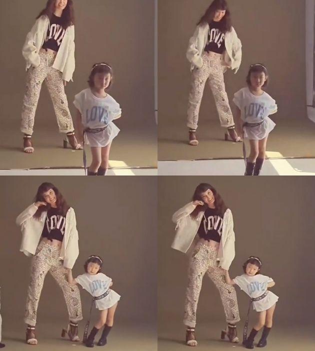 모델 송경아와 딸 해이