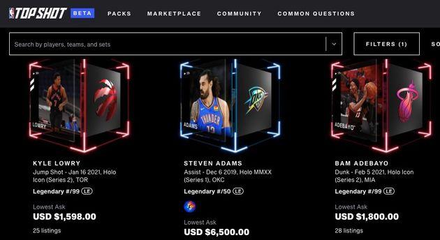 NBAトップショットで取引されるデジタルトレーディングカード