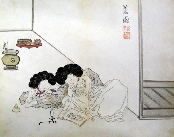 (자료 그림) 신윤복의 그림 '춘화 감상'.촛불이 일렁이는 방안에서 두 여인이 춘화를