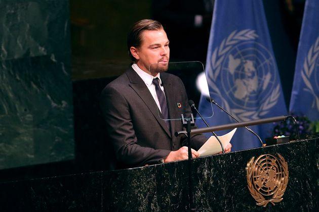2016年の4月22日、ニューヨークの国連本部で演説したディカプリオ氏