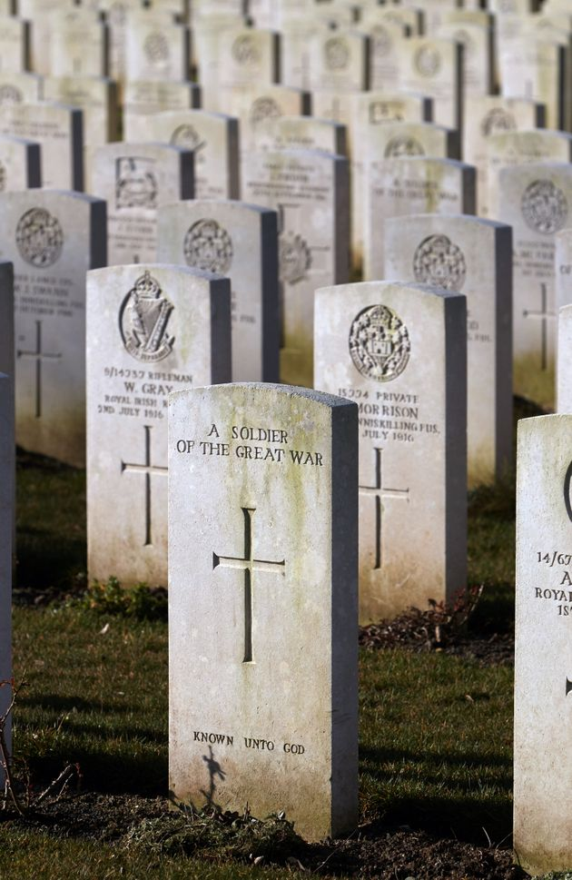 Graves of British soldiers who fought at the Somme in the First World War, who are buried at the Connaught...